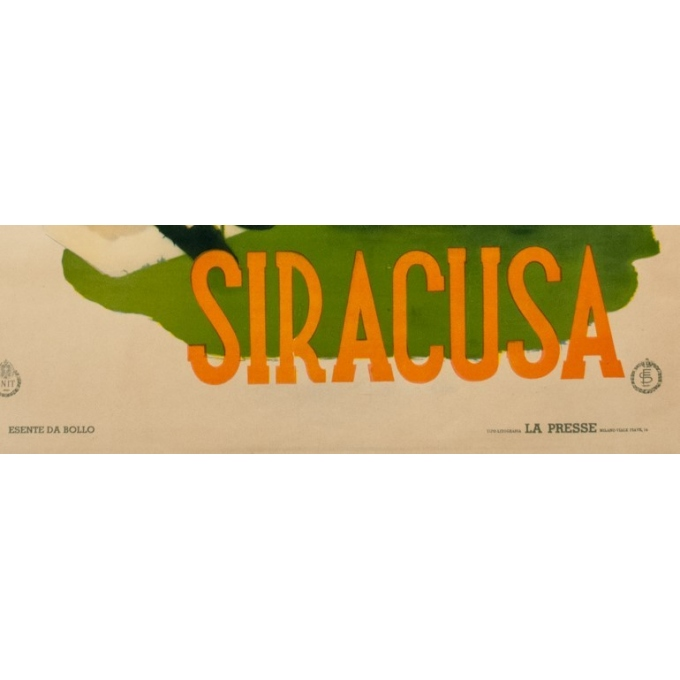 Affiche ancienne de voyage - Siracusa - 1950 - 98 par 67 cm - Vue 3