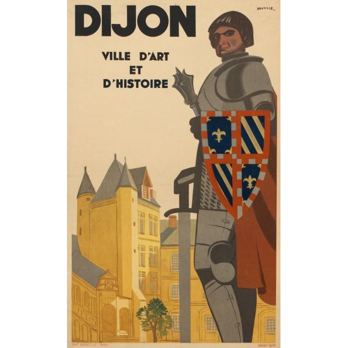 Affiche ancienne de voyage - Dijon - 1950 - Beuville - 79.5 par 61.5 cm
