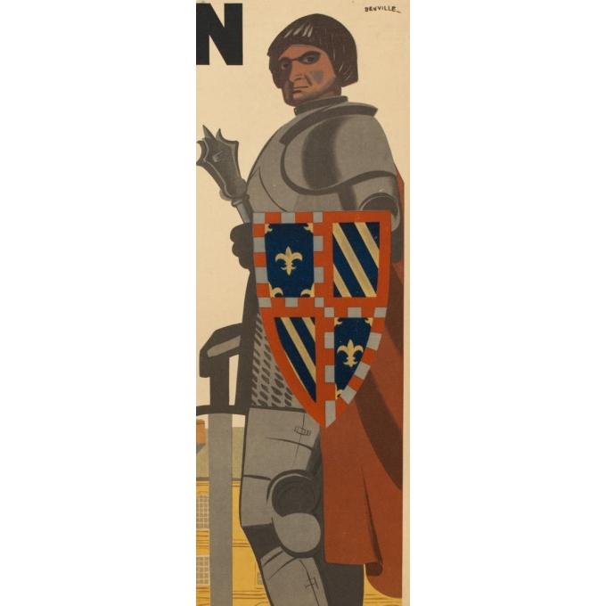 Affiche ancienne de voyage - Dijon - 1950 - Beuville - 79.5 par 61.5 cm - Vue 3