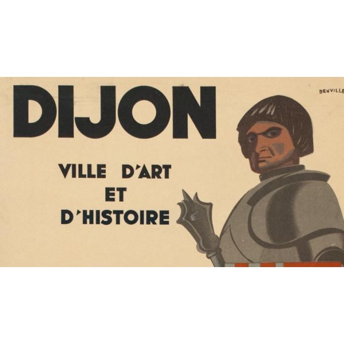 Affiche ancienne de voyage - Dijon - 1950 - Beuville - 79.5 par 61.5 cm - Vue 2