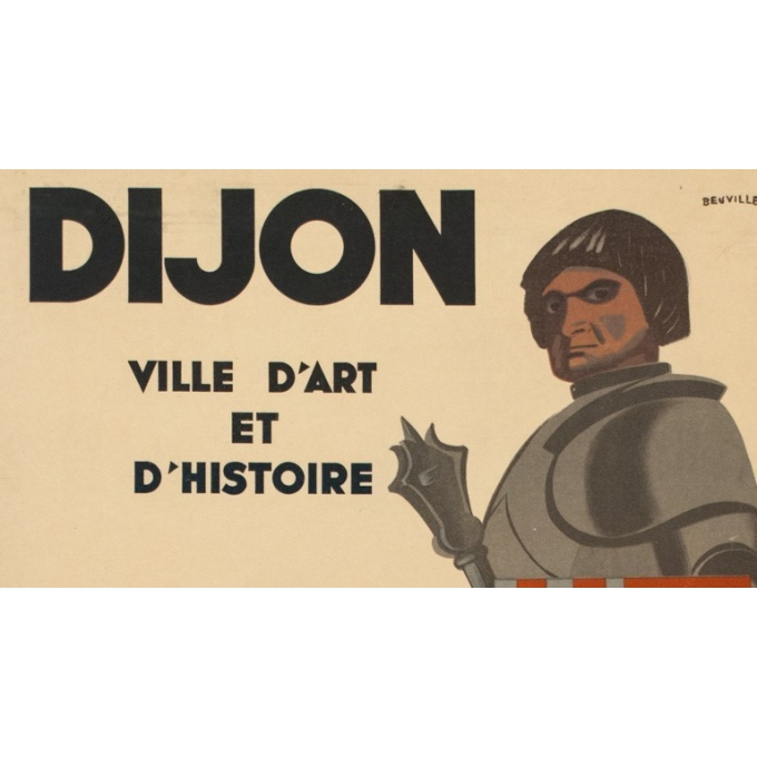 Vintage travel poster - Dijon, France - 1950 - Beuville - 31.30 by 24.21 inches - view 2