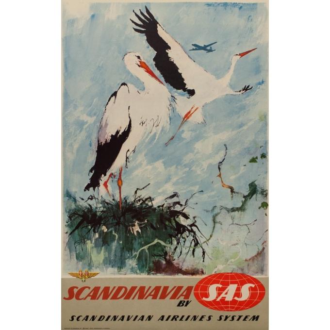 Affiche ancienne de voyage - SAS - Cigogne - Nielsen - 1965 - 99.5 par 63.5 cm