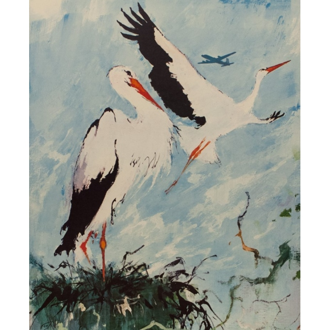 vintage travel psoter - SAS - Cigogne (Stork) - Nielsen - 1965 - 39.17 by 25 inches - View 2
