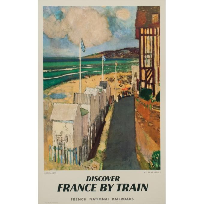 Affiche ancienne de voyage en train - Normandie - René Genis - 1961 - 101 par 63.5 cm