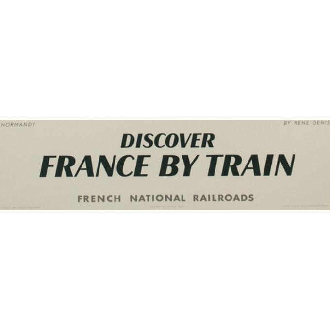 Affiche ancienne de voyage en train - Normandie - René Genis - 1961 - 101 par 63.5 cm - Vue 3