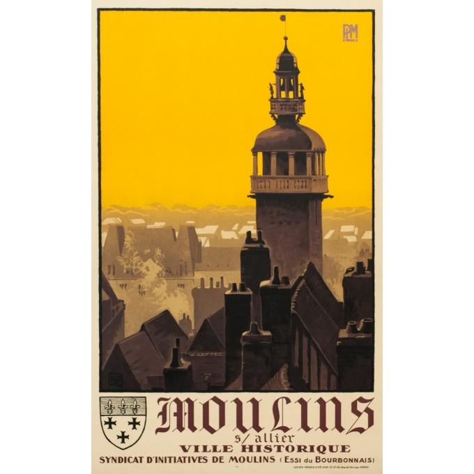 Affiche ancienne de voyage France - Moulins sur Allier - Charles Hallaut - 1922 - 100 par 62 cm