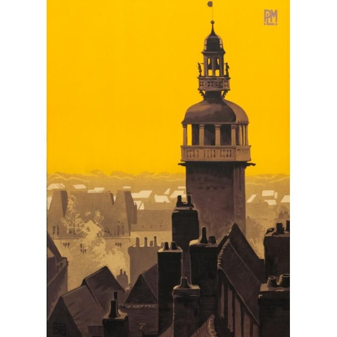 Affiche ancienne de voyage France - Moulins sur Allier - Charles Hallaut - 1922 - 100 par 62 cm - Vue 2