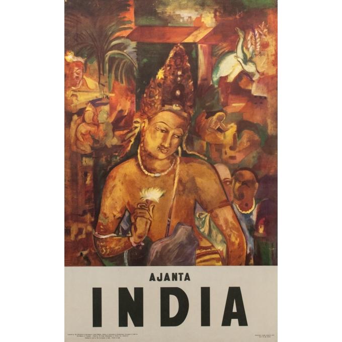Affiche ancienne de voyage - Ajanta Inde - 1957 - 100 x 62.5 cm
