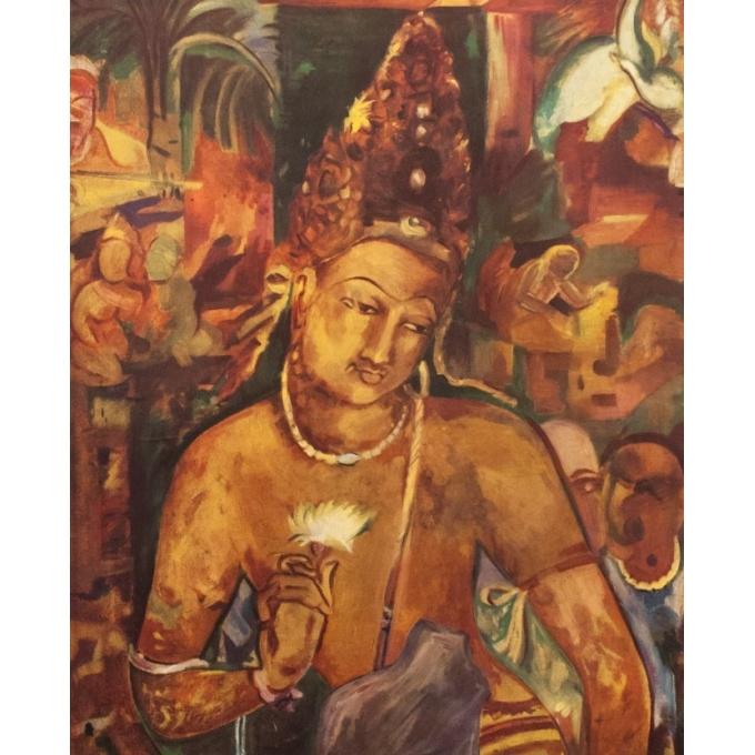 Affiche ancienne de voyage - Ajanta Inde - 1957 - 100 x 62.5 cm - Vue 2