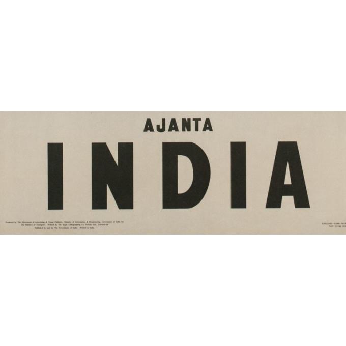 Affiche ancienne de voyage - Ajanta Inde - 1957 - 100 x 62.5 cm - Vue 3