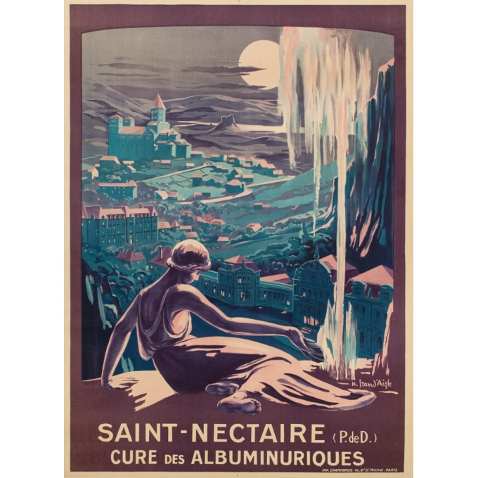 Vintage french travel poster - H.Izan d'Agle - 1920 - Saint Nectaire - 10.94 x 30.31 inches