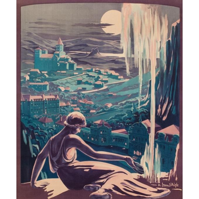 Affiche ancienne voyage - H.Izan d'Agle - 1920 - Saint Nectaire - 104 x 77 cm - Vue 2