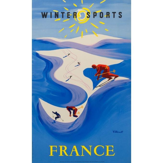Affiche ancienne tourisme France - Sports d'hiver - Villemot - 1955 - 99 par 61 cm