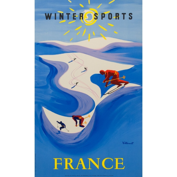 Vintage poster - France Winter Sports - Villemot - 1955 - 39.98 by 24 inches