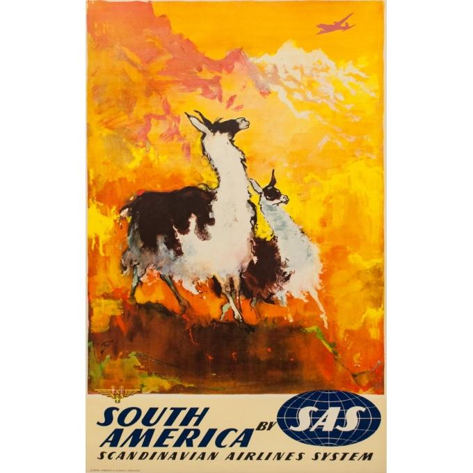 Affiche ancienne voyage - Nielsen - 1965 - SAS South America - 100 par 63 cm