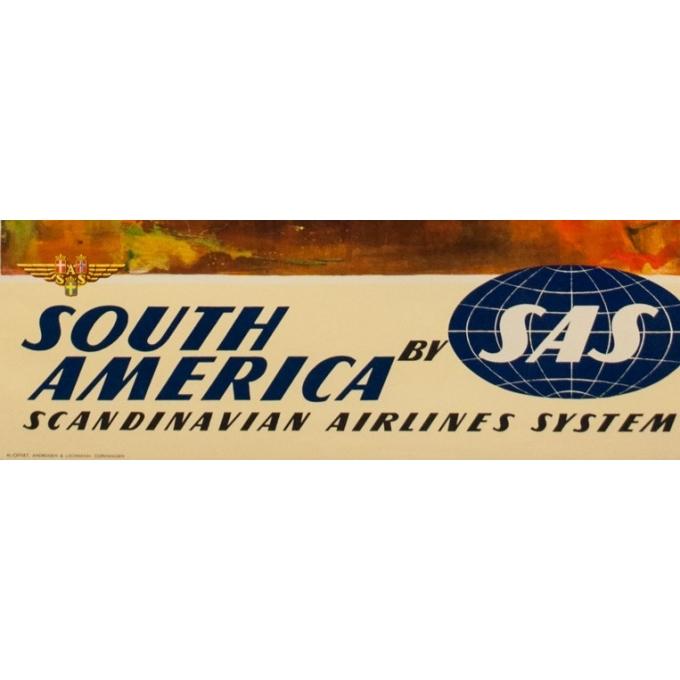 Affiche ancienne voyage - Nielsen - 1965 - SAS South America - 100 par 63 cm - Vue 3