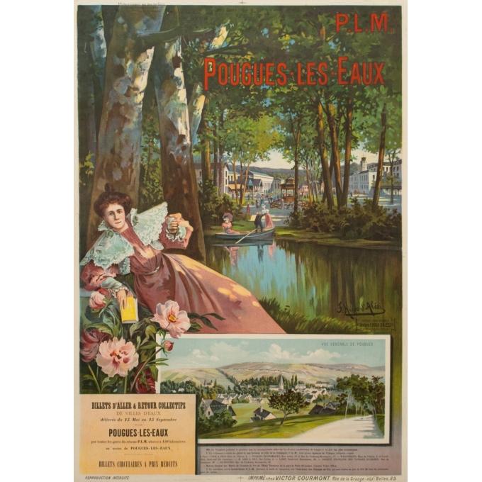 Affiche ancienne de voyage PLM - F.Hugo d'Alesi - Pougues les Eaux - 105.5 par 73.5 cm
