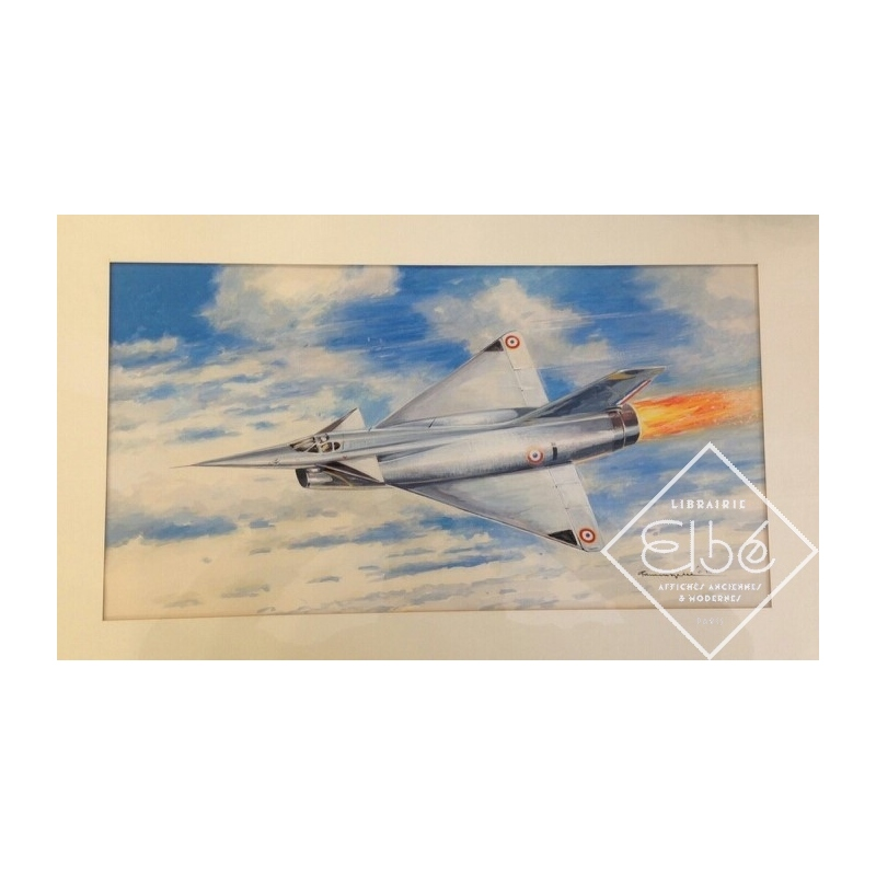 Mirage IIIS - Painting by Paul Lengellé - watercolour 25 x 44 cm