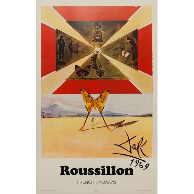 Affiche originale de voyage - Dali - 1970 - Roussillon French Railways - 99 par 62.5 cm