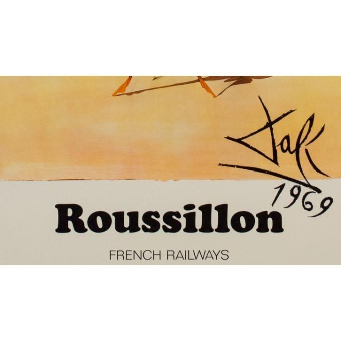Affiche originale de voyage - Dali - 1970 - Roussillon French Railways - 99 par 62.5 cm - Vue  4