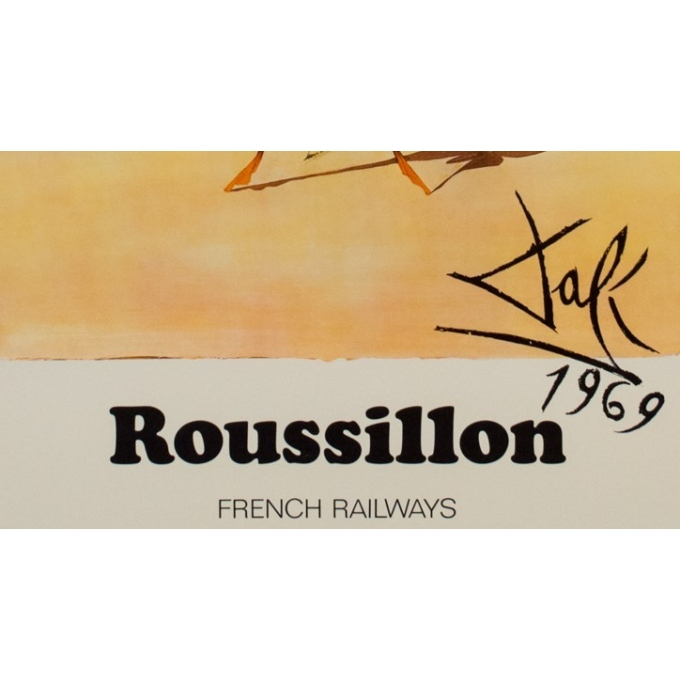 Original travel poster - Dali - 1970 - Roussillon French Railways - 39.98 by 24.61 inches - View 4