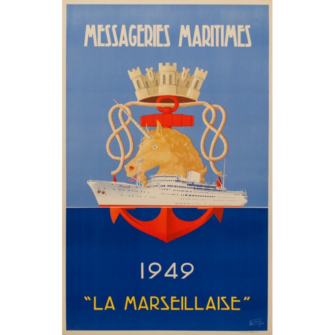 French vintage travel poster - Messagerie Maritime - R.Souli - 1949 - La Marseillaise - 38.58 by 24.21 inches