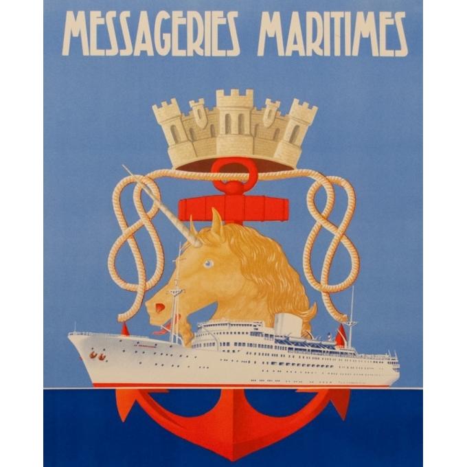 Affiche ancienne voyage - Messagerie Maritime - R.Souli - 1949 - La Marseillaise - 98 par 61.5 cm - Vue 2