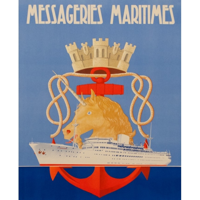 French vintage travel poster - Messagerie Maritime - R.Souli - 1949 - La Marseillaise - 38.58 by 24.21 inches - view 2