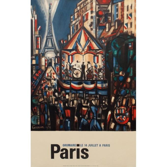 Affiche ancienne spectacle - Gromaire - 1956 - Le 14 juillet à Paris - 97 par 61 cm