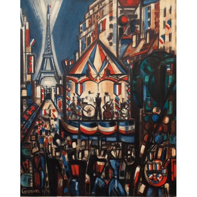 Affiche ancienne spectacle - Gromaire - 1956 - Le 14 juillet à Paris - 97 par 61 cm - vue 2