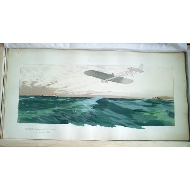 Blériot traversant la Manche - Lithographie originale d'E. Montaux. Elbé Paris.