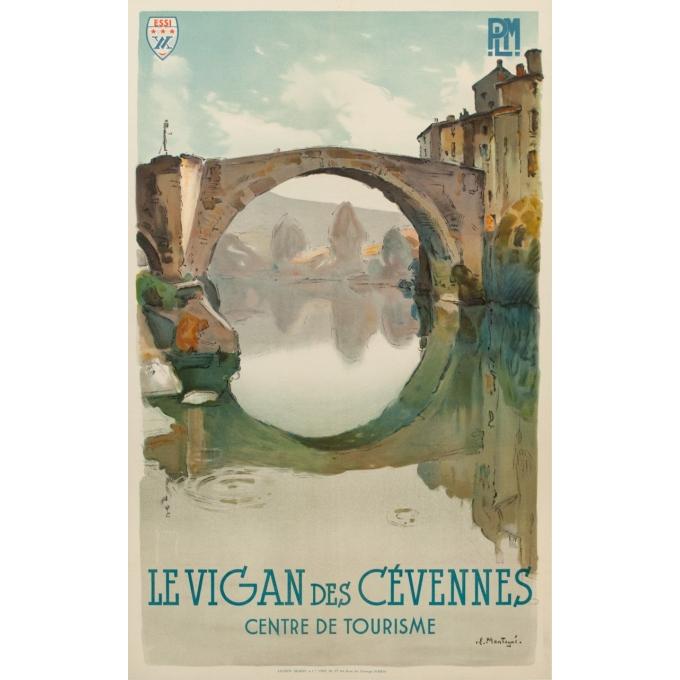 Affiche ancienne de voyage PLM - Montagus - Le Vigan des Cévennes - 1925 - 100 par 62 cm