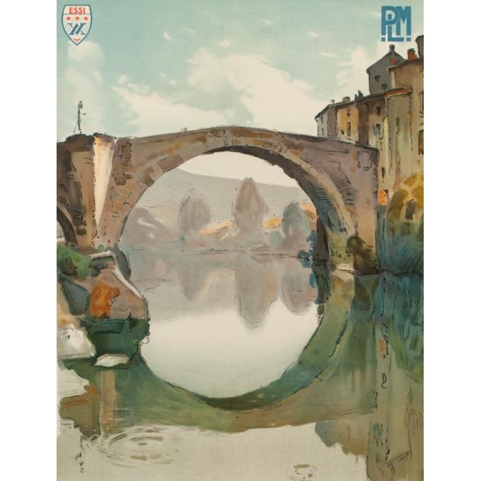 Affiche ancienne de voyage PLM - Montagus - Le Vigan des Cévennes - 1925 - 100 par 62 cm - Vue 2