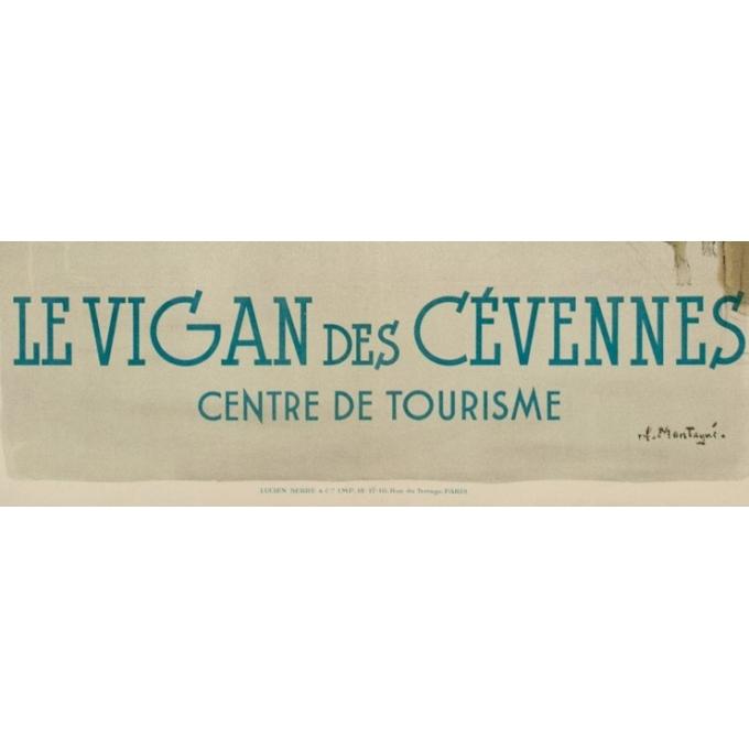Affiche ancienne de voyage PLM - Montagus - Le Vigan des Cévennes - 1925 - 100 par 62 cm - Vue 3