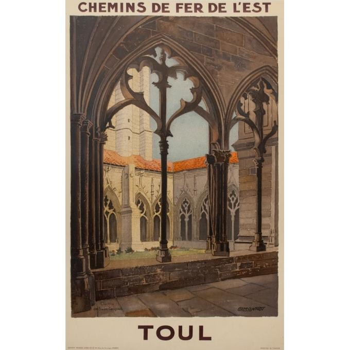 Affiche ancienne de voyage rail - Monnot - 1925 - Toul - 100 par 62.5 cm