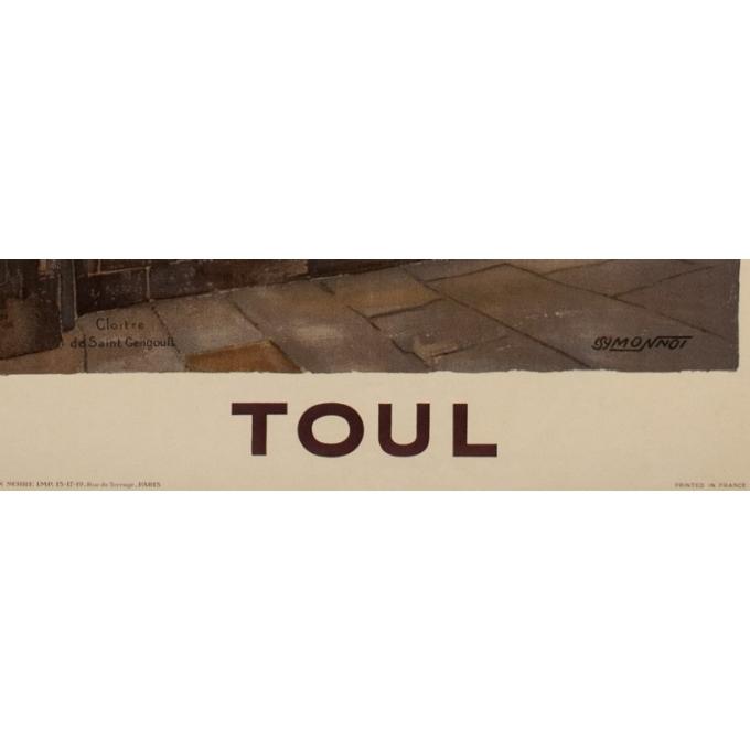 Affiche ancienne de voyage rail - Monnot - 1925 - Toul - 100 par 62.5 cm - Vue 3