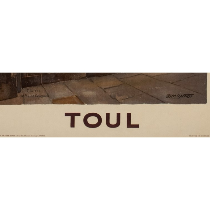 Vintage travel poster french railroads - Monnot - 1925 - Toul - 39.37 by 24.61 inches - View 3