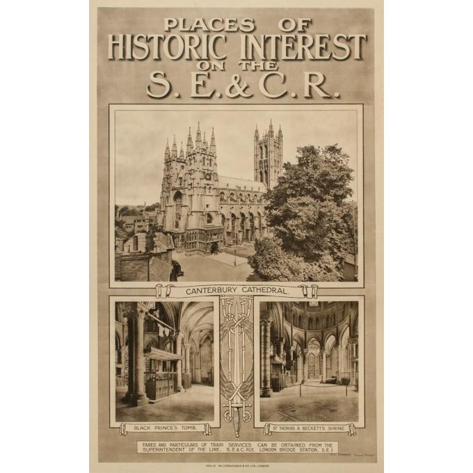 Affiche ancienne de voyage - Cathédrale de Canterbury - 1912 - 101 par 63 cm