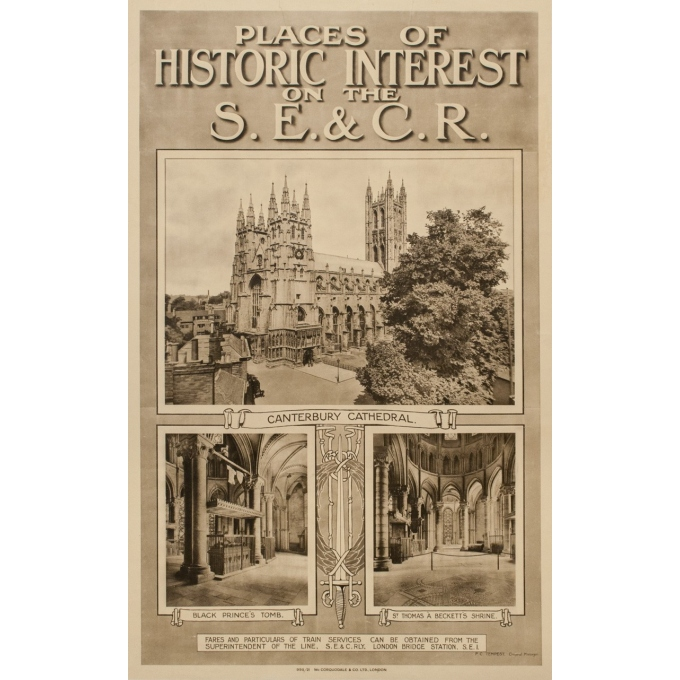 Affiche ancienne de voyage - Canterbury Cathedral - 1912 - 39.76 by 24.80 inches