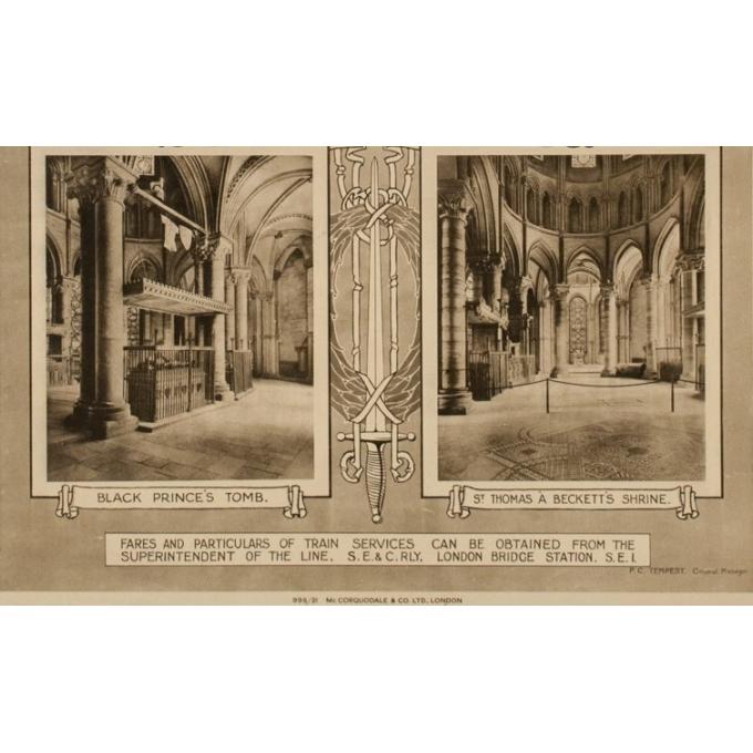 Affiche ancienne de voyage - Cathédrale de Canterbury - 1912 - 101 par 63 cm  - Vue 4