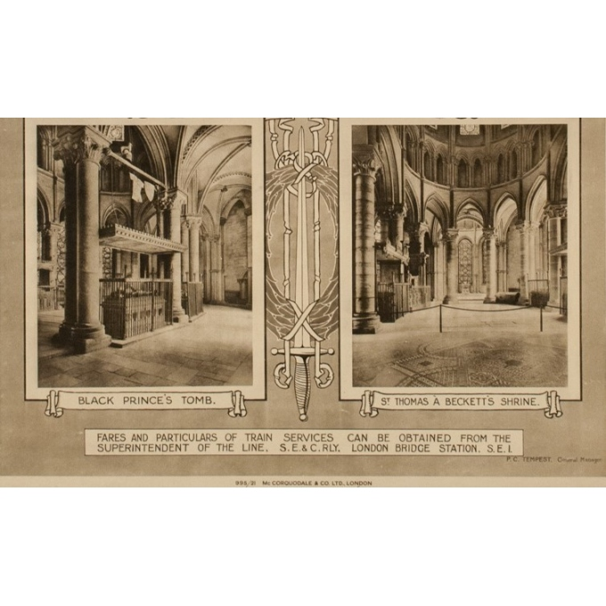 Affiche ancienne de voyage - Canterbury Cathedral - 1912 - 39.76 by 24.80 inches - view 4