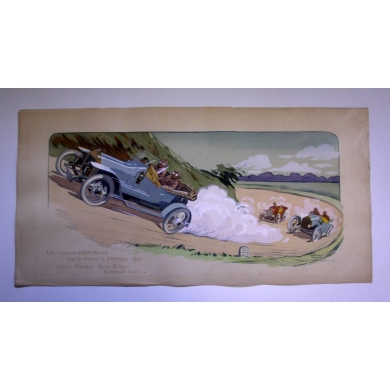 Crespelle's car original lithograph by GAMY - 1912. Elbé Paris.