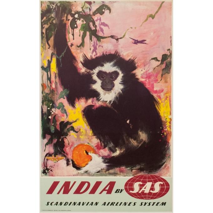 Affiche originale de voyage - SAS - India - Nielsen - 1965 - 100 par 63 cm