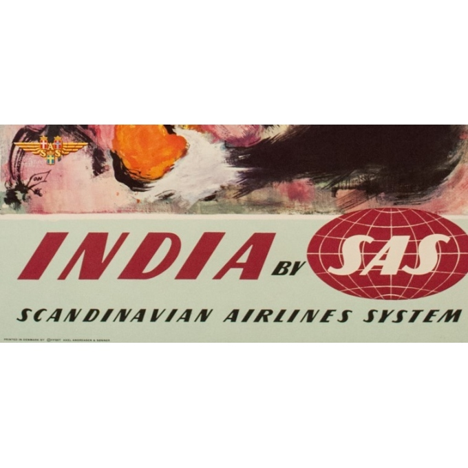 Original travel poster - SAS - India - Nielsen - 1965 - 39.37 by 24.80 inches - View 3