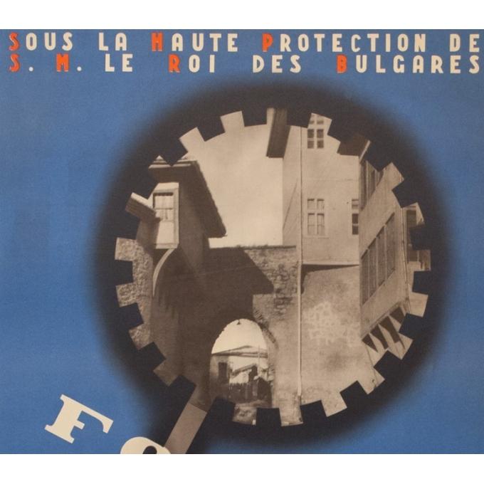 Affiche ancienne d'exposition - Foire de Plovdiv - Yvan Penkoff - 1938 - 95 par 62 cm - Vue 2