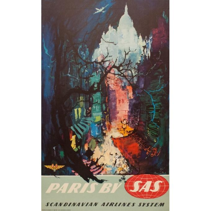 Affiche ancienne de voyage - Paris by SAS - Nielsen - 1965 - 101.5 par 62 cm