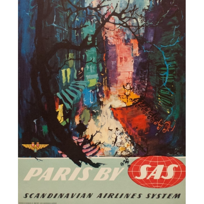Affiche ancienne de voyage - Paris by SAS - Nielsen - 1965 - 101.5 par 62 cm - Vue 3