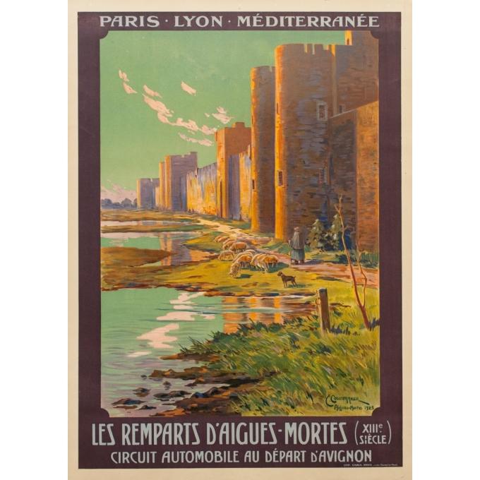 Affiche ancienne de voyage - PLM - Couroneau - Les Remparts d'Aigues Mortes - 1923 - 108.5 par 78 cm