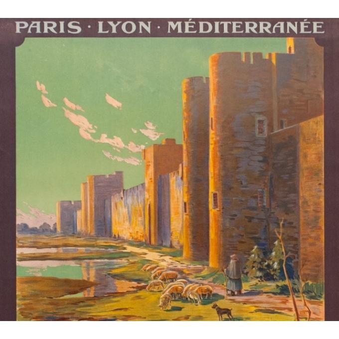 Affiche ancienne de voyage - PLM - Couroneau - Les Remparts d'Aigues Mortes - 1923 - 108.5 par 78 cm - Vue 2