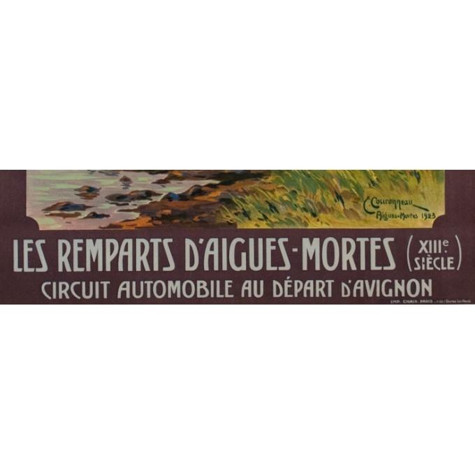 Affiche ancienne de voyage - PLM - Couroneau - Les Remparts d'Aigues Mortes - 1923 - 108.5 par 78 cm - Vue 4